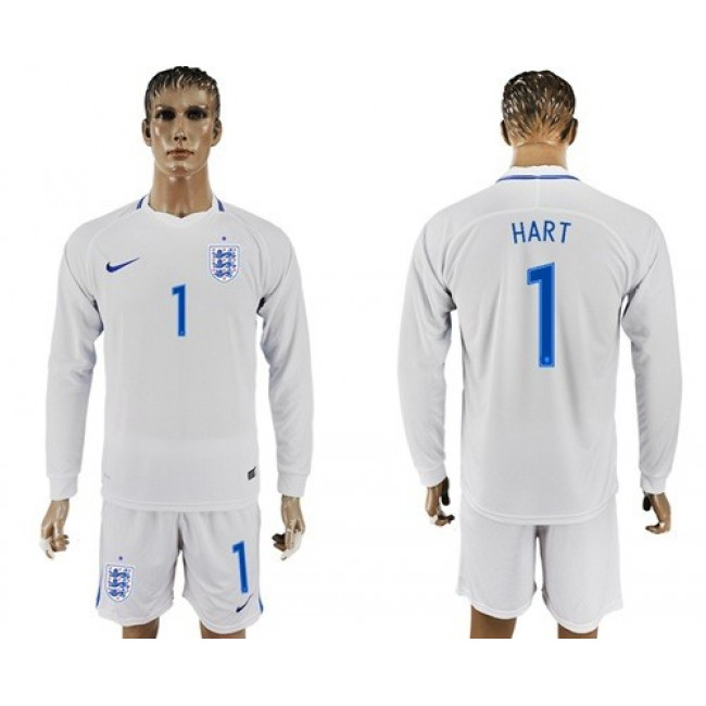 Nike/Adidas England #1 Hart Home Long Sleeves Soccer Country Jersey