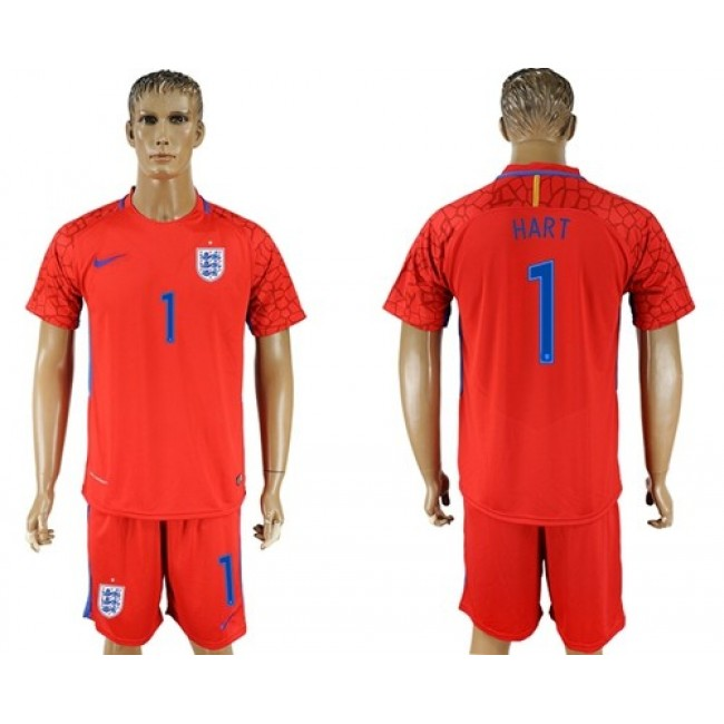 Nike/Adidas England #1 Hart Red Goalkeeper Soccer Country Jersey