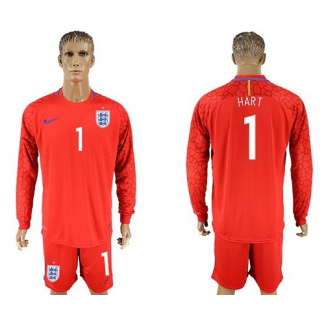 Nike/Adidas England #1 Hart Red Long Sleeves Goalkeeper Soccer Country Jersey
