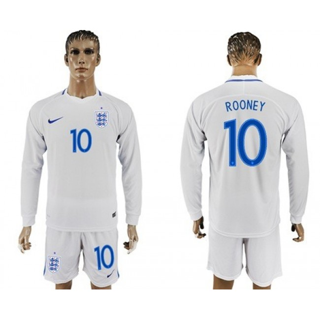 Nike/Adidas England #10 Rooney Home Long Sleeves Soccer Country Jersey