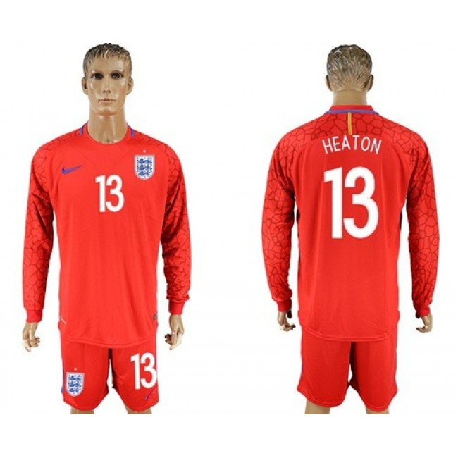 Nike/Adidas England #13 Heaton Red Long Sleeves Goalkeeper Soccer Country Jersey