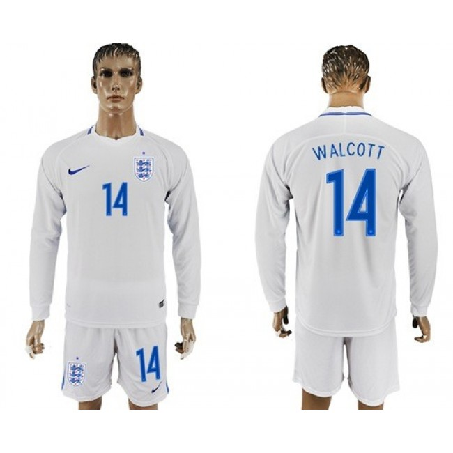 Nike/Adidas England #14 Walcott Home Long Sleeves Soccer Country Jersey