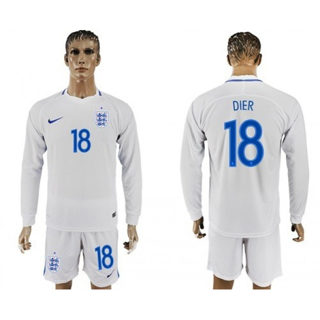 Nike/Adidas England #18 Dier Home Long Sleeves Soccer Country Jersey