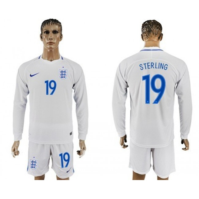 Nike/Adidas England #19 Sterling Home Long Sleeves Soccer Country Jersey