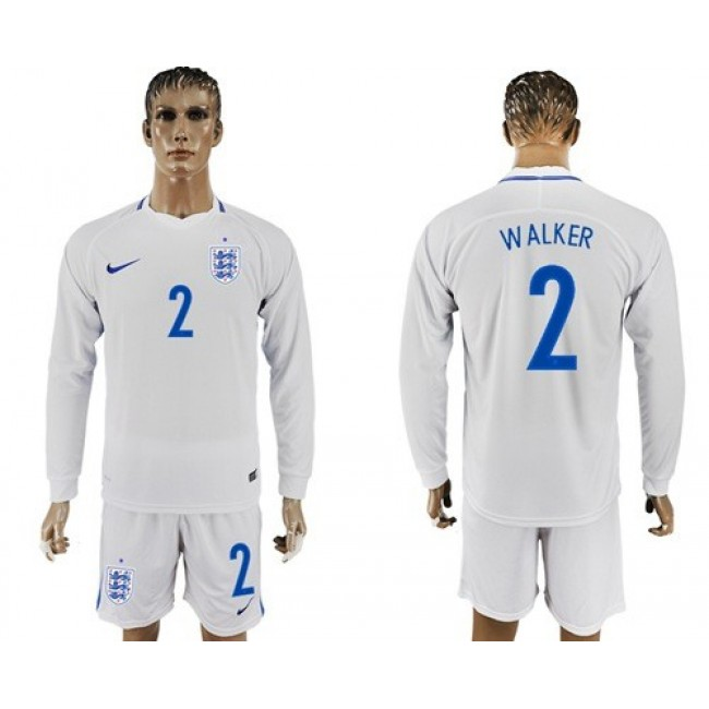 Nike/Adidas England #2 Walker Home Long Sleeves Soccer Country Jersey