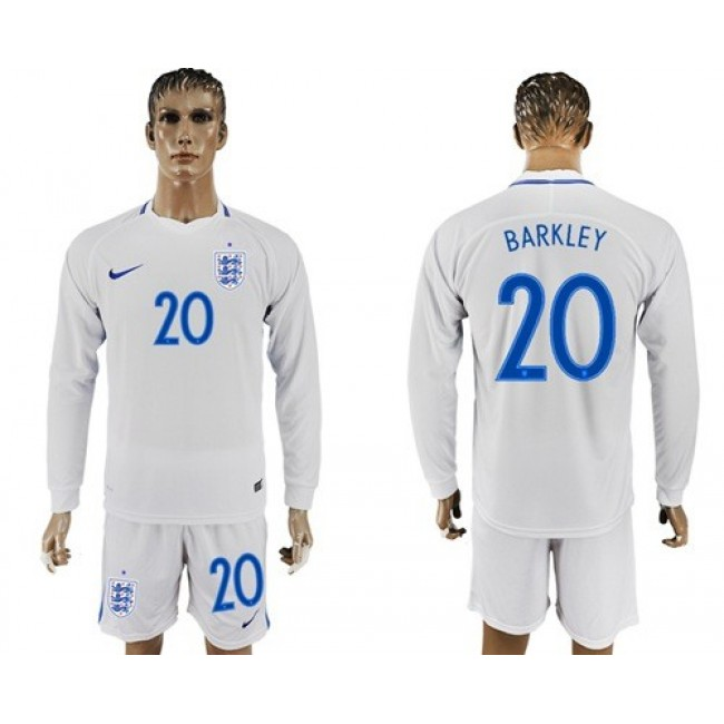 Nike/Adidas England #20 Barkley Home Long Sleeves Soccer Country Jersey