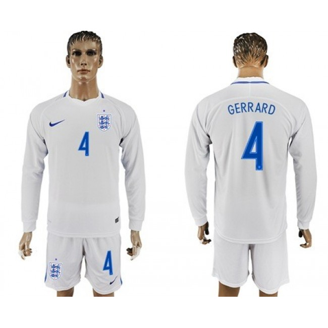 Nike/Adidas England #4 Gerrard Home Long Sleeves Soccer Country Jersey