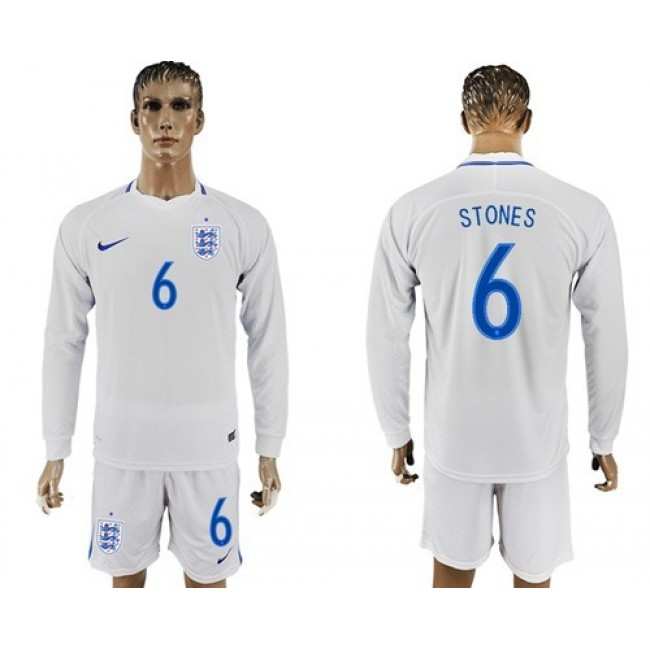 Nike/Adidas England #6 Stones Home Long Sleeves Soccer Country Jersey