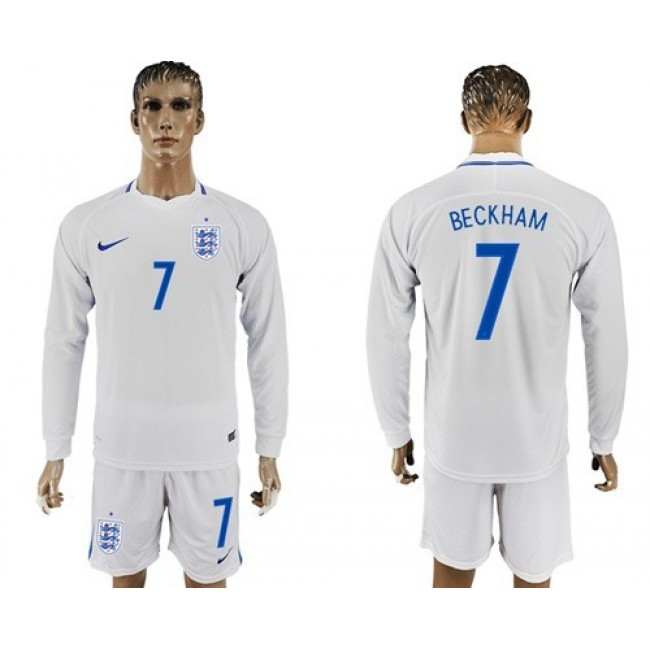 Nike/Adidas England #7 Beckham Home Long Sleeves Soccer Country Jersey