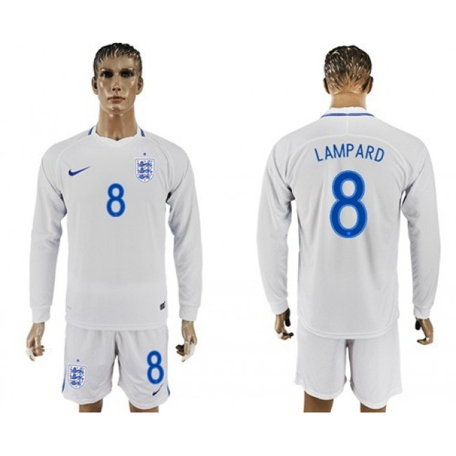 Nike/Adidas England #8 Lampard Home Long Sleeves Soccer Country Jersey