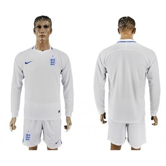 Nike/Adidas England Blank Home Long Sleeves Soccer Country Jersey