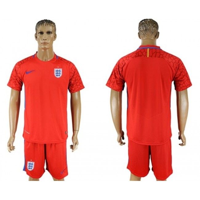 Nike/Adidas England Blank Red Goalkeeper Soccer Country Jersey