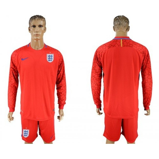 Nike/Adidas England Blank Red Long Sleeves Goalkeeper Soccer Country Jersey
