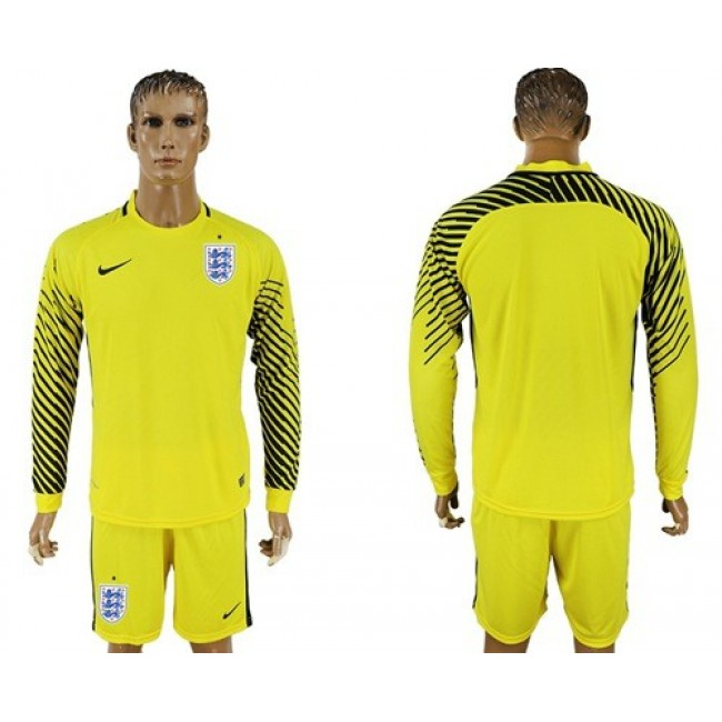 Nike/Adidas England Blank Yellow Long Sleeves Goalkeeper Soccer Country Jersey