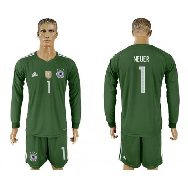 Nike/Adidas Germany #1 Neuer Army Green Goalkeeper Long Sleeves Soccer Country Jersey