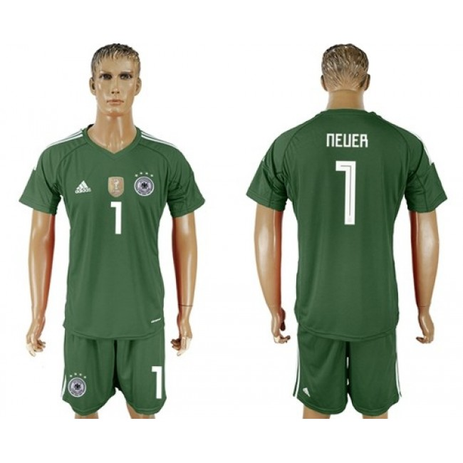 Nike/Adidas Germany #1 Neuer Army Green Goalkeeper Soccer Country Jersey