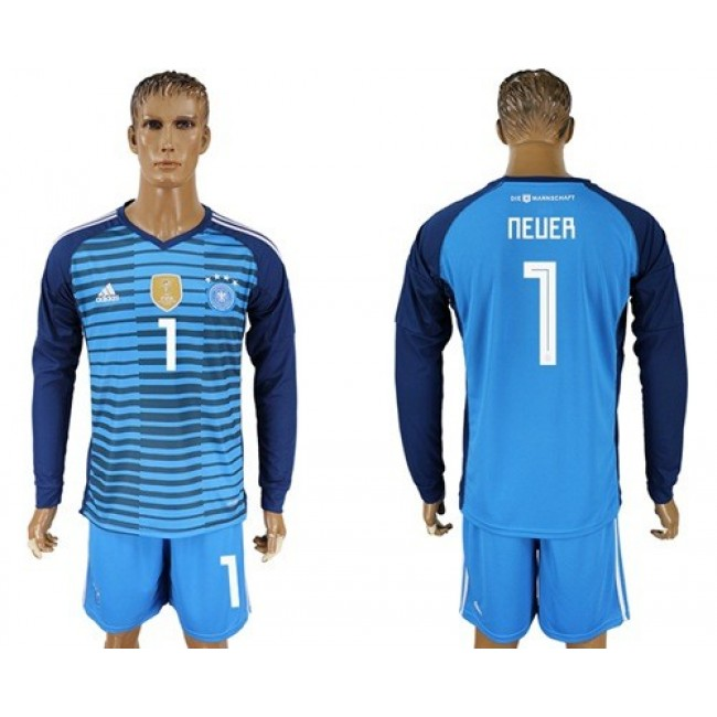 Nike/Adidas Germany #1 Neuer Blue Goalkeeper Long Sleeves Soccer Country Jersey
