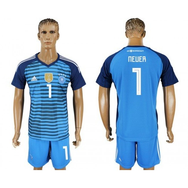 Nike/Adidas Germany #1 Neuer Blue Goalkeeper Soccer Country Jersey