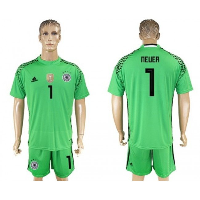 Nike/Adidas Germany #1 Neuer Green Goalkeeper Soccer Country Jersey