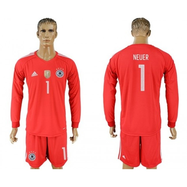 Nike/Adidas Germany #1 Neuer Red Goalkeeper Long Sleeves Soccer Country Jersey