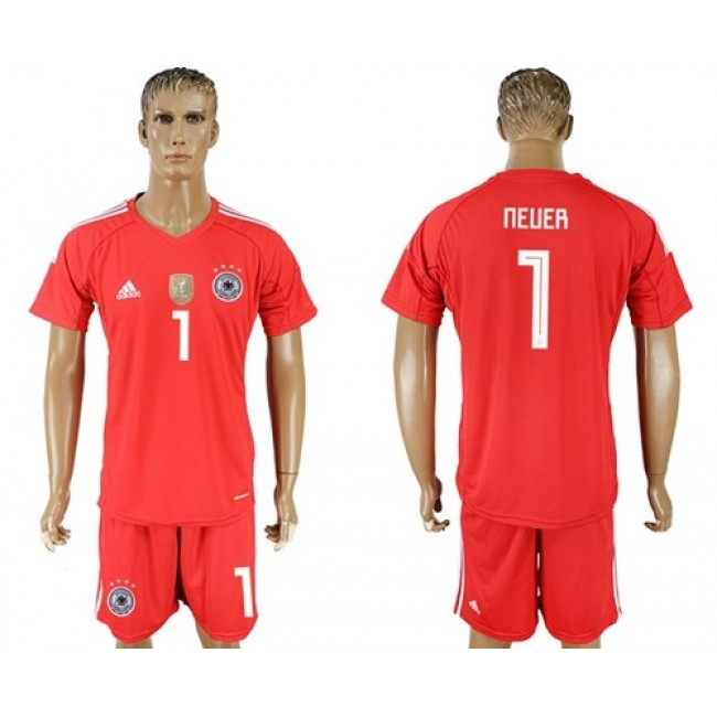 Nike/Adidas Germany #1 Neuer Red Goalkeeper Soccer Country Jersey