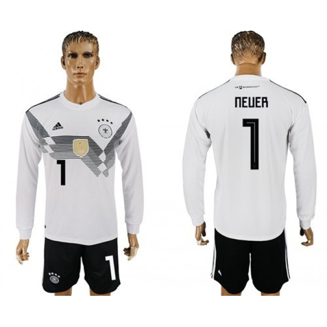 Nike/Adidas Germany #1 Neuer White Home Long Sleeves Soccer Country Jersey