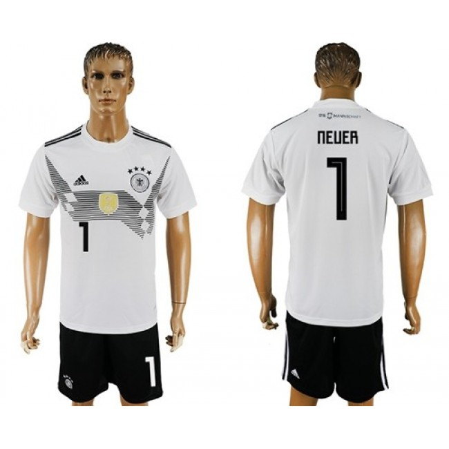 Nike/Adidas Germany #1 Neuer White Home Soccer Country Jersey