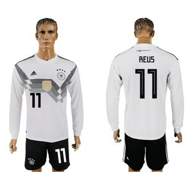 Nike/Adidas Germany #11 Reus White Home Long Sleeves Soccer Country Jersey