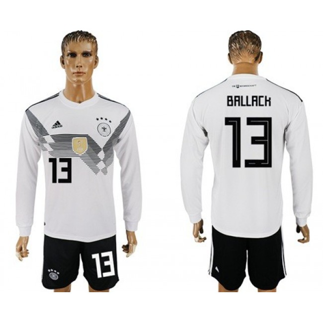 Nike/Adidas Germany #13 Ballack White Home Long Sleeves Soccer Country Jersey