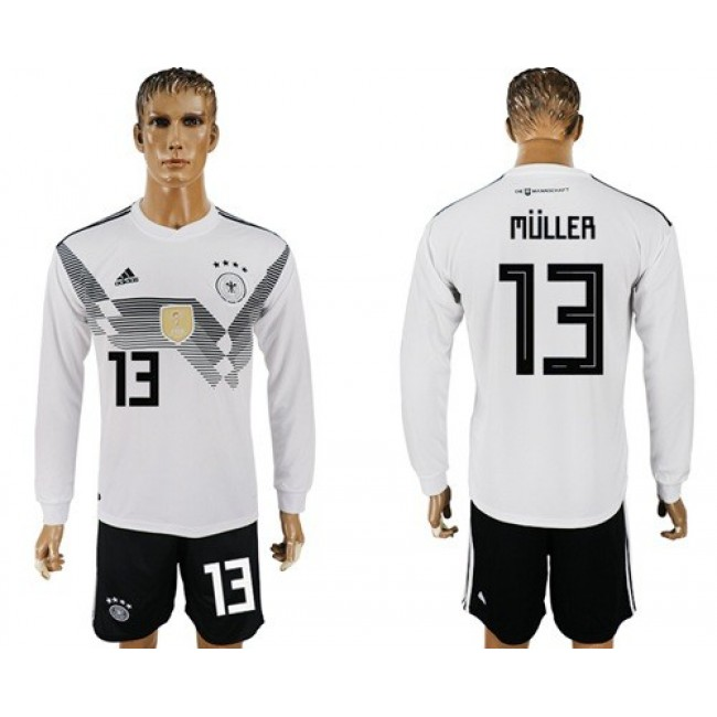 Nike/Adidas Germany #13 Muller White Home Long Sleeves Soccer Country Jersey