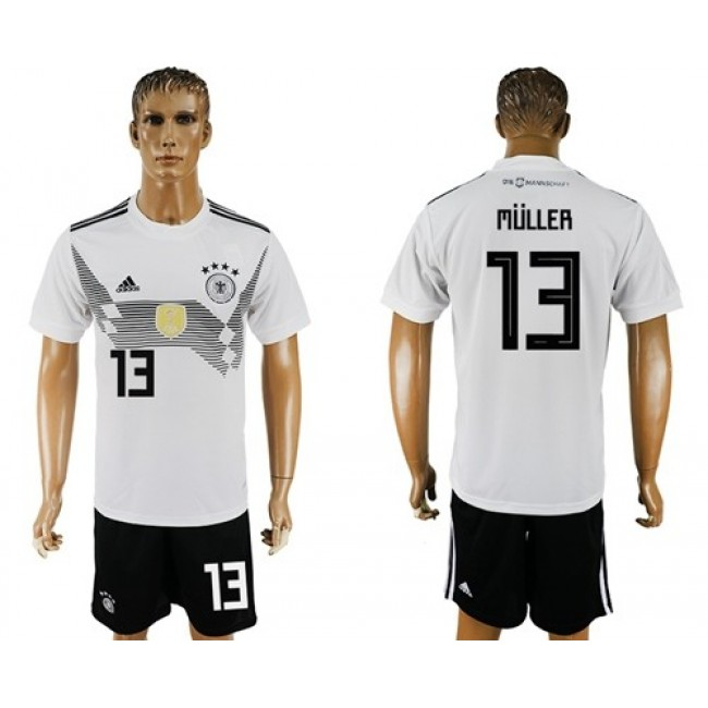 Nike/Adidas Germany #13 Muller White Home Soccer Country Jersey