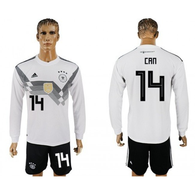 Nike/Adidas Germany #14 Can White Home Long Sleeves Soccer Country Jersey