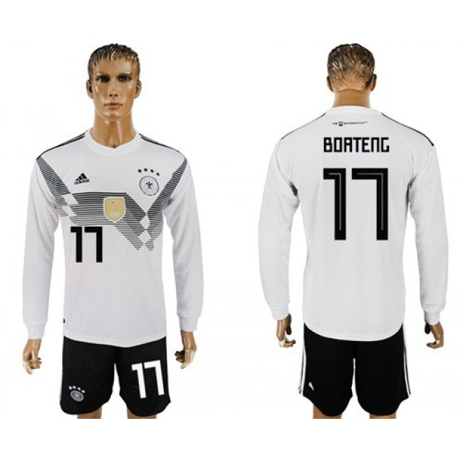 Nike/Adidas Germany #17 Boateng White Home Long Sleeves Soccer Country Jersey