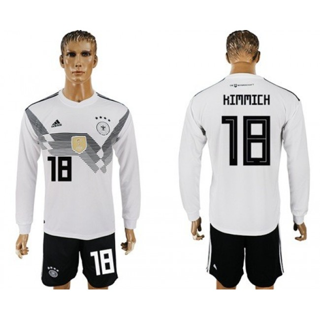 Nike/Adidas Germany #18 Kimmich White Home Long Sleeves Soccer Country Jersey
