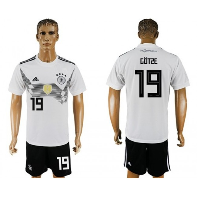 Nike/Adidas Germany #19 Gotze White Home Soccer Country Jersey
