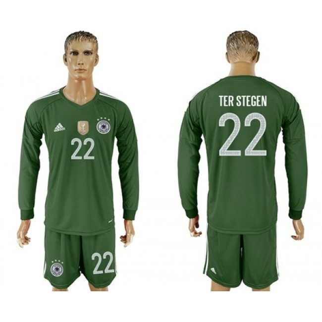 Nike/Adidas Germany #22 Ter Stegen Army Green Goalkeeper Long Sleeves Soccer Country Jersey
