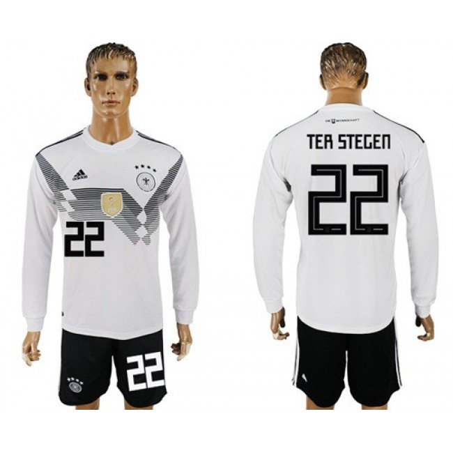 Nike/Adidas Germany #22 Ter Stegen White Home Long Sleeves Soccer Country Jersey