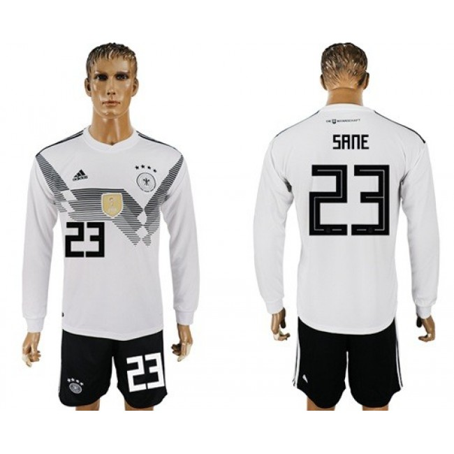 Nike/Adidas Germany #23 Sane White Home Long Sleeves Soccer Country Jersey