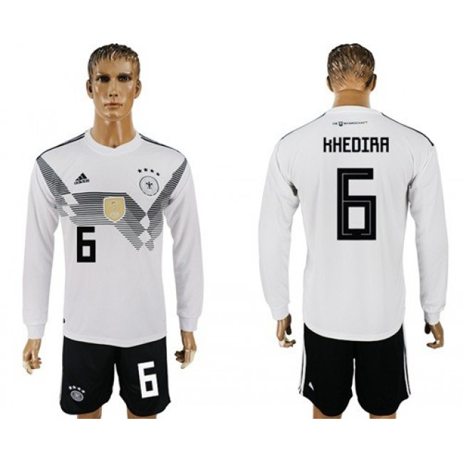 Nike/Adidas Germany #6 Khedira White Home Long Sleeves Soccer Country Jersey