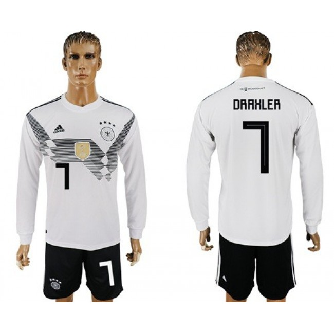 Nike/Adidas Germany #7 Draxler White Home Long Sleeves Soccer Country Jersey