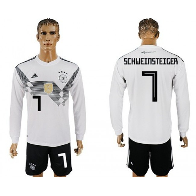 Nike/Adidas Germany #7 Schweinsteiger White Home Long Sleeves Soccer Country Jersey