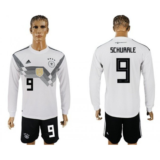 Nike/Adidas Germany #9 Schurrle White Home Long Sleeves Soccer Country Jersey