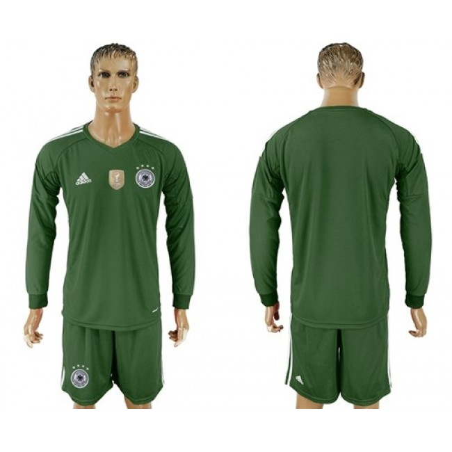 Nike/Adidas Germany Blank Army Green Goalkeeper Long Sleeves Soccer Country Jersey
