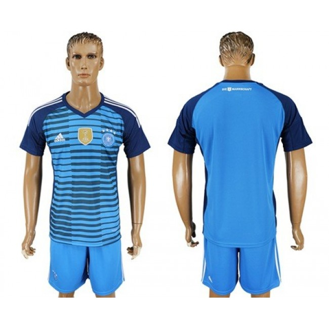 Nike/Adidas Germany Blank Blue Goalkeeper Soccer Country Jersey