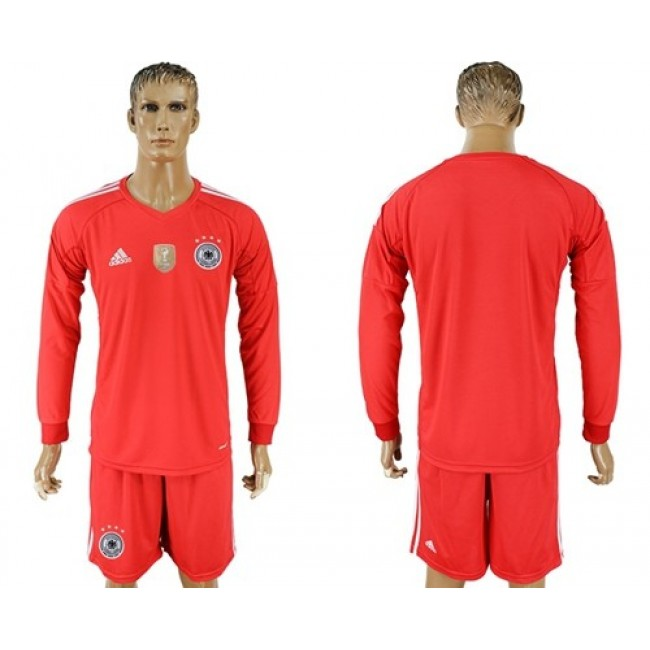 Nike/Adidas Germany Blank Red Goalkeeper Long Sleeves Soccer Country Jersey