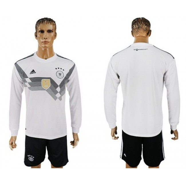 Nike/Adidas Germany Blank White Home Long Sleeves Soccer Country Jersey