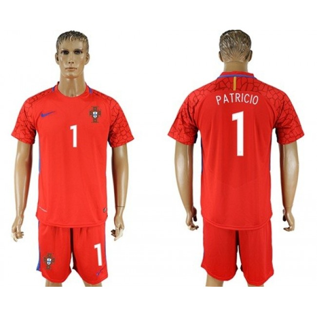 Nike/Adidas Portugal #1 Patricio Red Goalkeeper Soccer Country Jersey