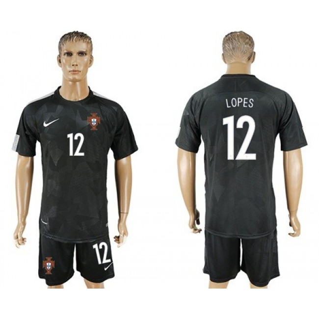 Nike/Adidas Portugal #12 Lopes Away Soccer Country Jersey