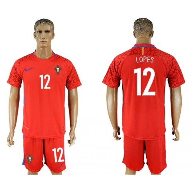 Nike/Adidas Portugal #12 Lopes Red Goalkeeper Soccer Country Jersey
