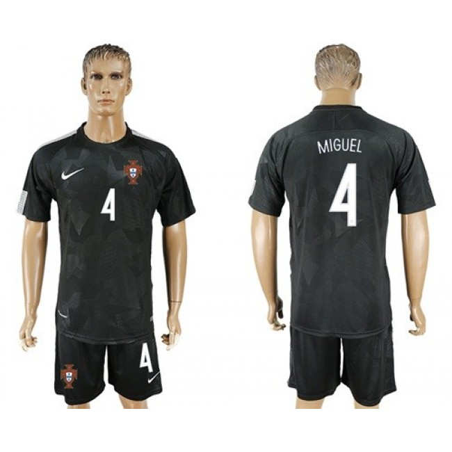 Nike/Adidas Portugal #4 Miguel Away Soccer Country Jersey